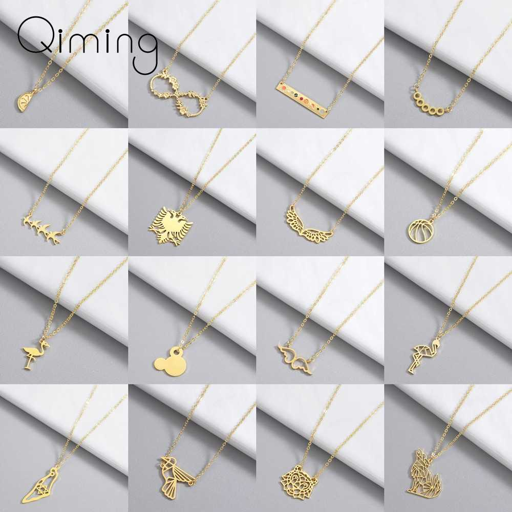 Women Mickey Necklace Angle Wings Bird Geometric Statement Jewelry Infinity Stainless Steel Neckalce Girls Gift Woman