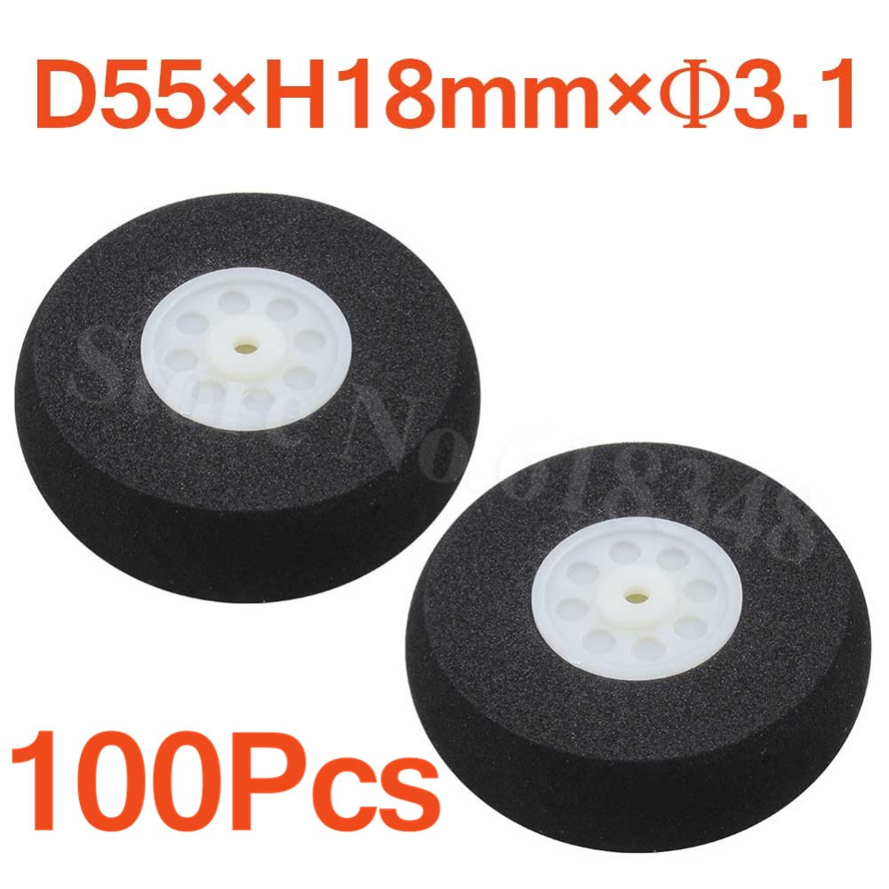 Wholesale 100pcs 55mm Light Foam Tail Wheel Thickness 18mm Axle hole 3 1mm For Remote control