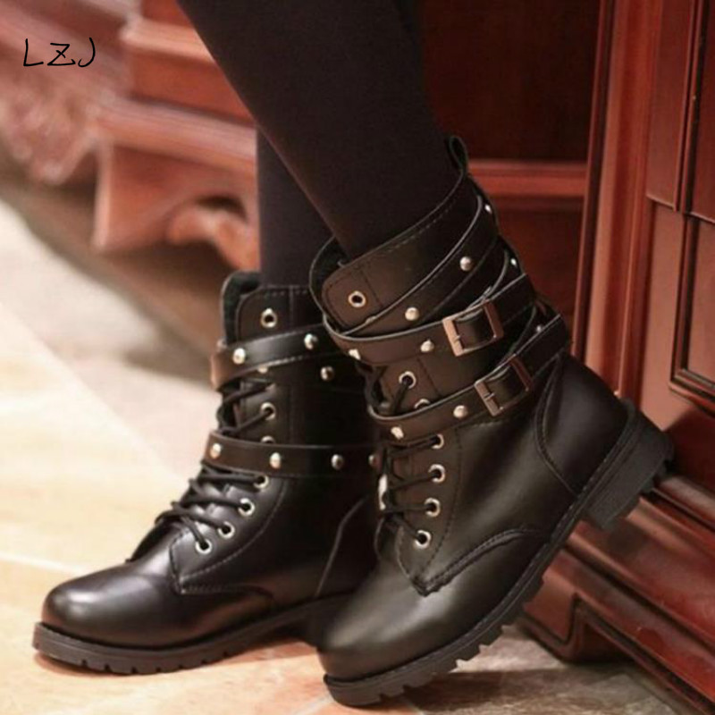 LZJ 2018 Fashion New Punk Gothic Style Lace up Belts Round Toe Boots Women Shoes Short Boots Street haulage motor mujer zapatos