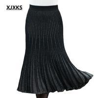 XJXKS harajuku womens clothing high elasticity korean skirt young ladies glisten knitting fall fashion 2018 women skirts