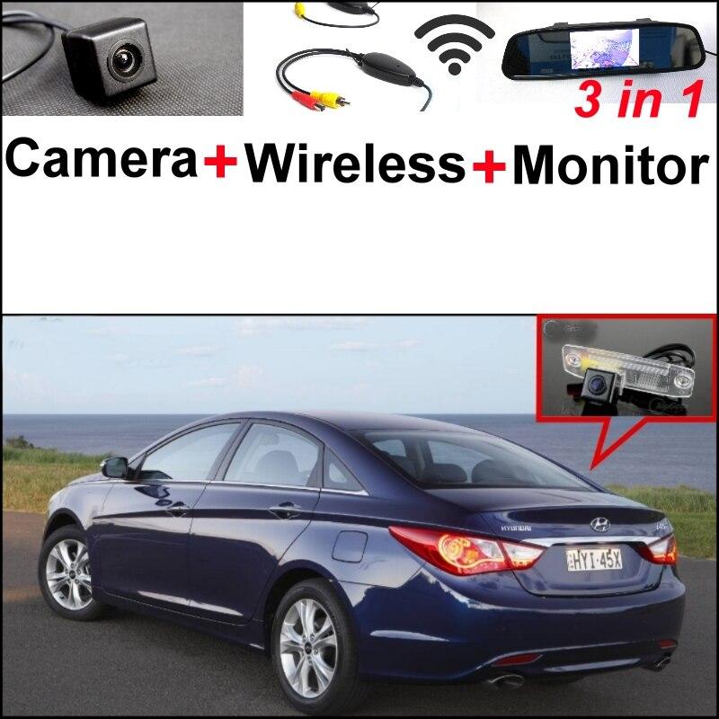 Mirror Monitor Easy DIY Backup Parking System For Hyundai i25 i35 i45 3 in1 Special Rear View Camera + Wireless Receiver 3in1 diy for hyundai i25 i35 i45 wireless wifi bluetooth backup rear view reverse rearview camera camara