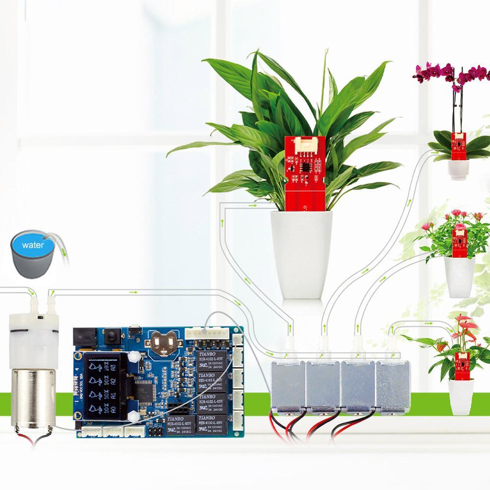 Elecrow Kit d'arrosage automatique des plantes pour Arduino avec capteur d'humidité du sol bricolage jardinage auto arrosage dispositif de pompe à eau intelligent