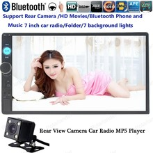 2 DIN 7 Inch Car Radio Player MP4 Mp5 Player Touch Screen FM/USB/AUX/TF Bluetooth In Dash Stereo with rear camera