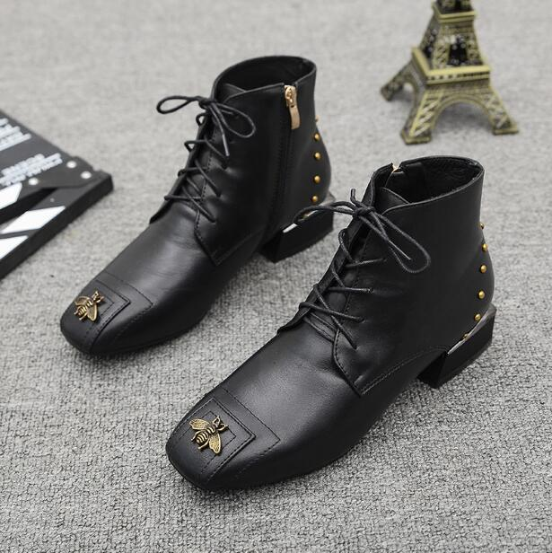 2018 New Fashion Womens Ankle Boots Genuine Leather Booties Black Flats Shoes Lady aa0320 ...