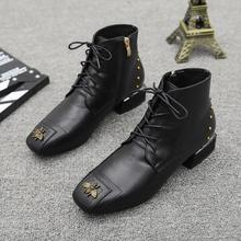 New Fashion Womens Ankle Boots Genuine Leather Booties Black Flats Shoes Lady aa0320 womens ankle boots soft flats shoes fashion womens autumn spring genuine leather shoes female plus big large size 40 41 aa0555