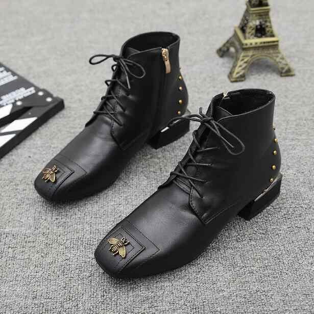 Nieuwe Fashion Dames Enkel Laarzen Lederen Laarsjes Zwarte Flats Schoenen Lady aa0320