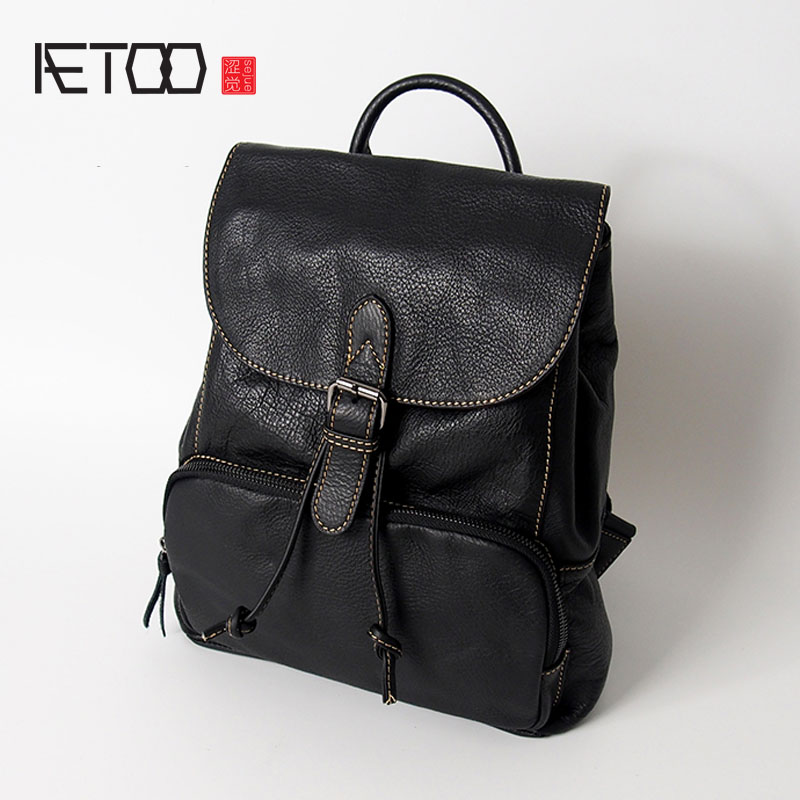 AETOO The first layer of leather leather men and women wild simple shoulder bag Korean travel soft leather casual fashion backpa aetoo leather men bag wild european and american first layer of leather men s shoulder bag trend backpack