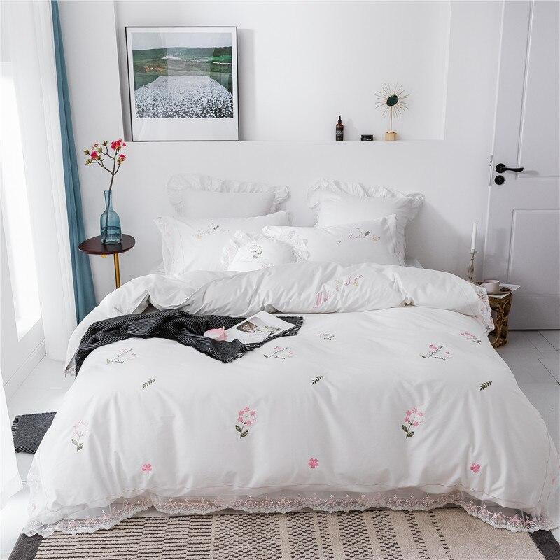 Jeune fille ensemble de literie 3 4/7 pièces housse de couette taie d'oreiller couvre-lit broderie dentelle coeur oreiller dos coussin princesse linge de lit
