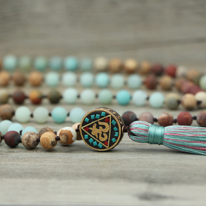 Image 2 - EDOTHALIA Matte Natural Stone 108 Beads Necklaces For Women Female Payer Regious Nepal Pendant Long Mala Necklace Jewelry