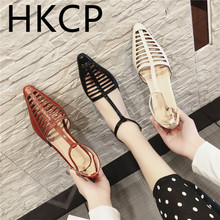 HKCP Hollow-out square-heeled shoes Spring 2019 new womens European and American buckle low-heeled Women C035