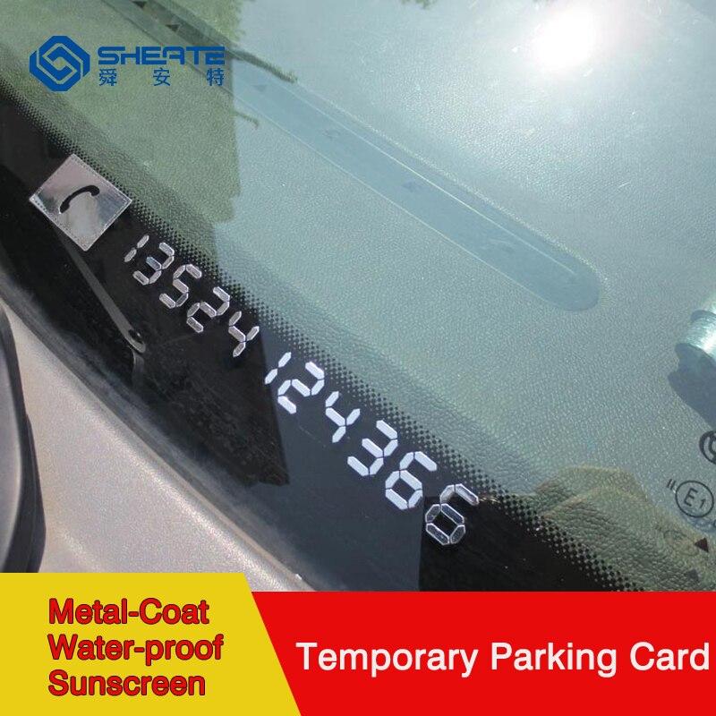 SHEATE автомобиля временная парковка карта как внутри, так и снаружи использовать ментальные медным покрытием номер телефона стикер без клея электростатического