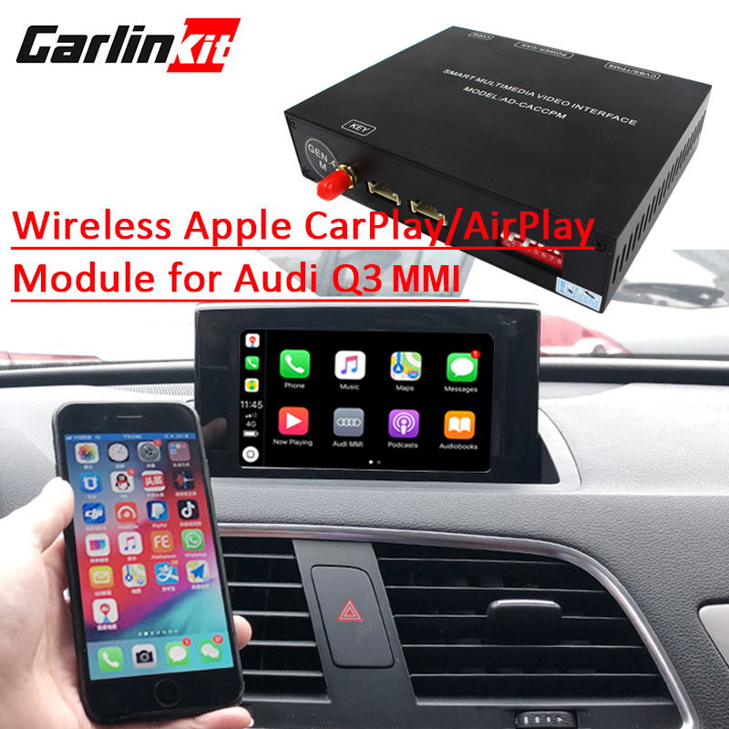 Carlinkit Aftermarket Sans Fil Apple Carplay pour Audi Q3 MMI Solution Rénovation avec caméra de recul