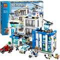 Bela ciudad comisaría moto kits de edificio modelo de helicóptero compatible con lego ciudad bloques 3d juguetes educativos