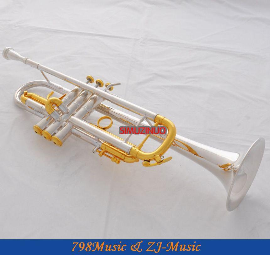 Professzionális ezüst aranyozott trombita Monel B-lapos fekete héj - Hangszerek - Fénykép 5