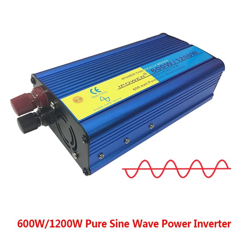 Ipower Чистая синусоида Инвертор 12 В 220 В 600 Вт Чистая синусоида Инвертор 1 шт. инвертор 220 В постоянного тока в переменный ток