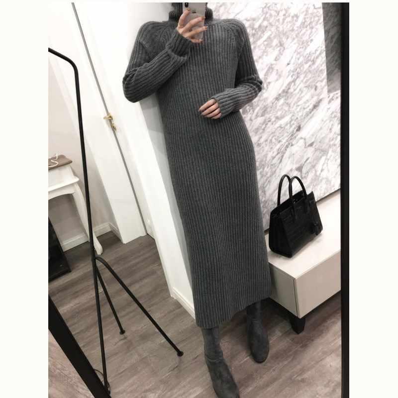 긴 여성 솔리드 높은 칼라 캐시미어 혼합 스웨터 드레스 컬러 pulloverknit 무릎 양모 섹시한 솔리드 가운 긴 니트 사무실