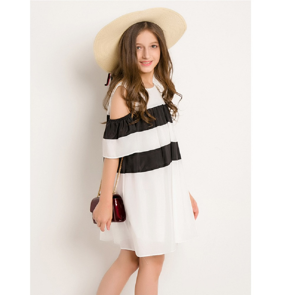 Girls Clothes Summer Dress  Off-shoulder Chiffon 6 8 10 12 14 Years Short Sleeve Kids Teen White Black