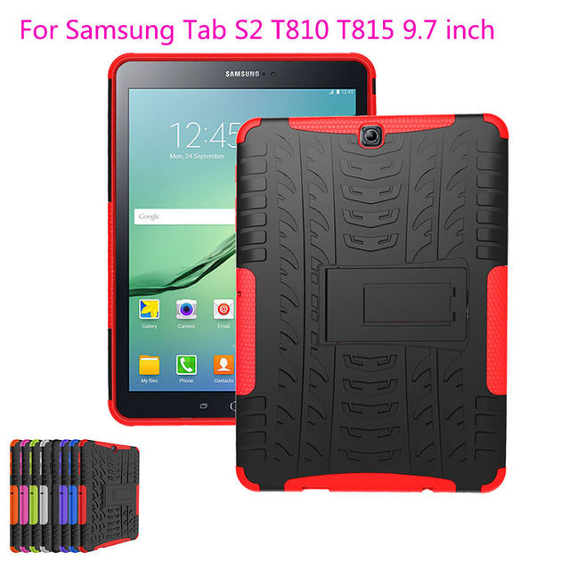 buy online a62e7 547e9 Armor Cover For Samsung Galaxy Tab S2 9.7 Case Kickstand Silicon Hard Cover  For Samsung Tab S2 9.7 Case of T815 T810 T813N Funda-in Tablets & e-Books  ...