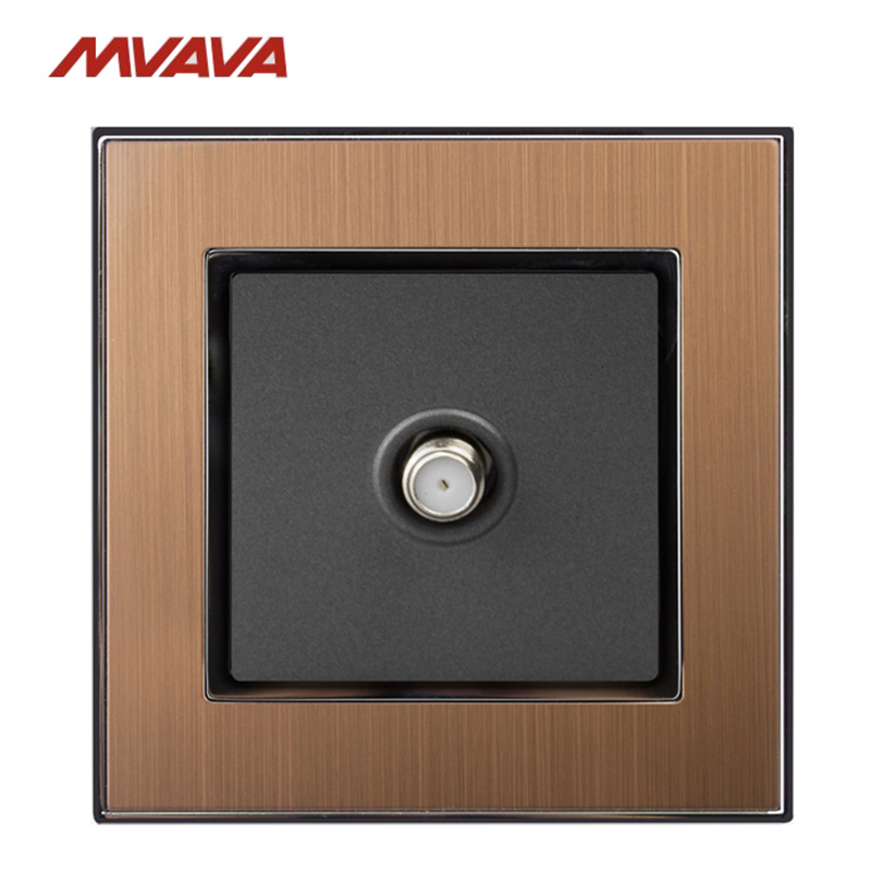 MVAVA Satellite TV Socket Smart Home Hotel Gold Satin Metal Cable Satellite Television Outlet Wall Plug Free Shipping in Electrical Sockets from Home Improvement