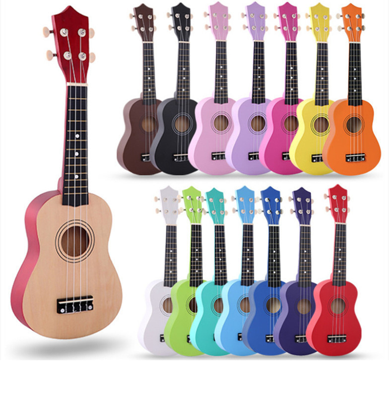 Child little guitar color Ukulele Soprano Concert Tenor Ukulele 21 inch basswood Hawaii Ukelele Stringed Musical Instruments soprano concert tenor ukulele bag case backpack fit 21 23 inch ukelele beige guitar accessories parts gig waterproof lithe