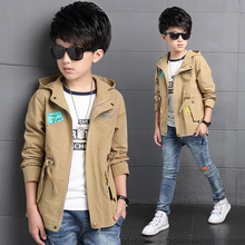 Hooded Jackets For Boys Tops Cotton Patches Boys Coats Autumn Teenage Boys Trench Kids Clothes Children Outerwear 2016 vogue