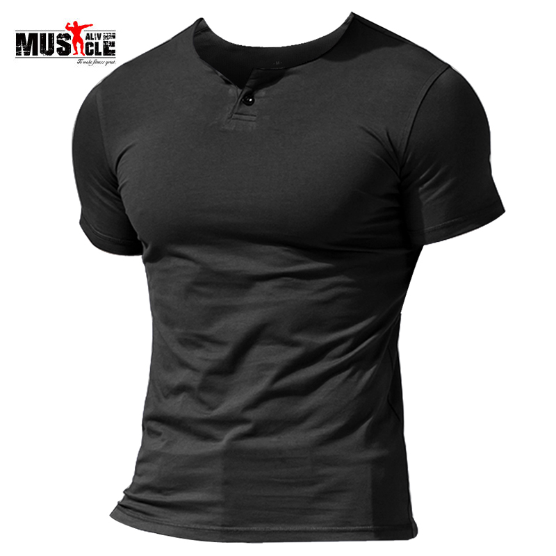 MUSCLE ALIVE Men's Summer Casual Short Sleeve Henleys   T  -  Shirt   Single Button Placket Plain v Neck   Shirts   Bodybuilding Fitness