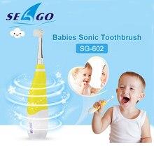 Seago – brosse à dents électrique pour enfants de 0 à 4 ans, avec lumière LED, poils souples, deux couleurs