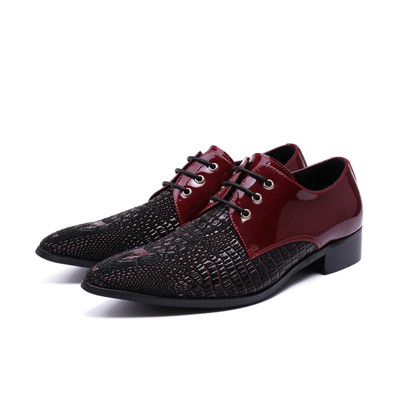 Eunice Choo Crocodile Skin Embossed Leather Formal Lace Up Derby Shoes Dark Red Patchwork Pointed Toe Men Party Dress Shoes Long Performance Life Shoes Formal Shoes