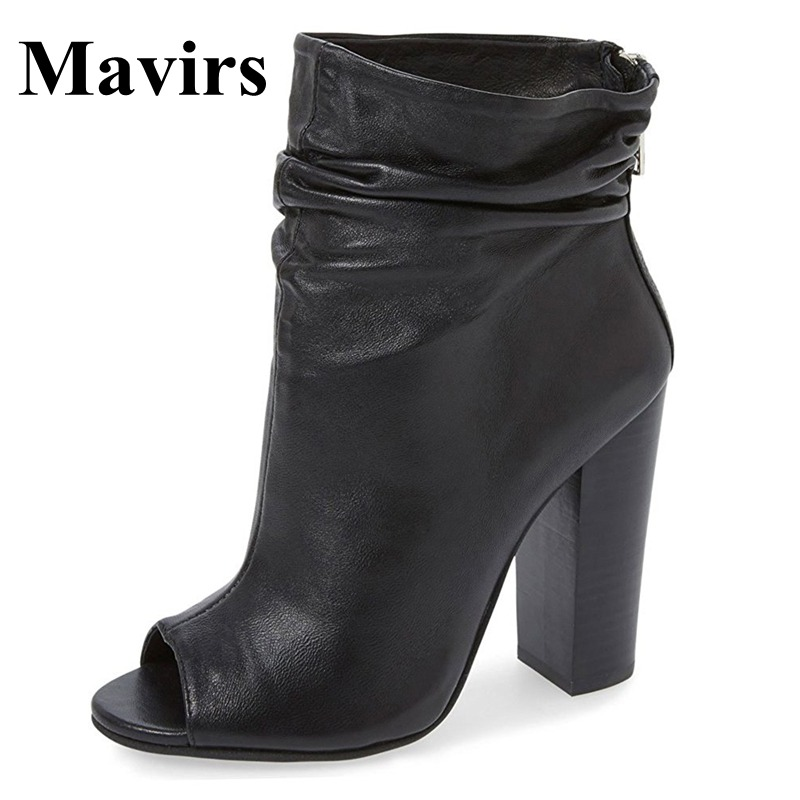 Mavirs Brand Chunky High Heels Women Ankle Boots 2018 Spring 12CM Brown Black Slouchy Booties Shoes US Size 5-15 mavirs brand women ankle boots 2018 pointed toe matt 4 75 inches chunky high heels black gray gold white shoes us size 5 15