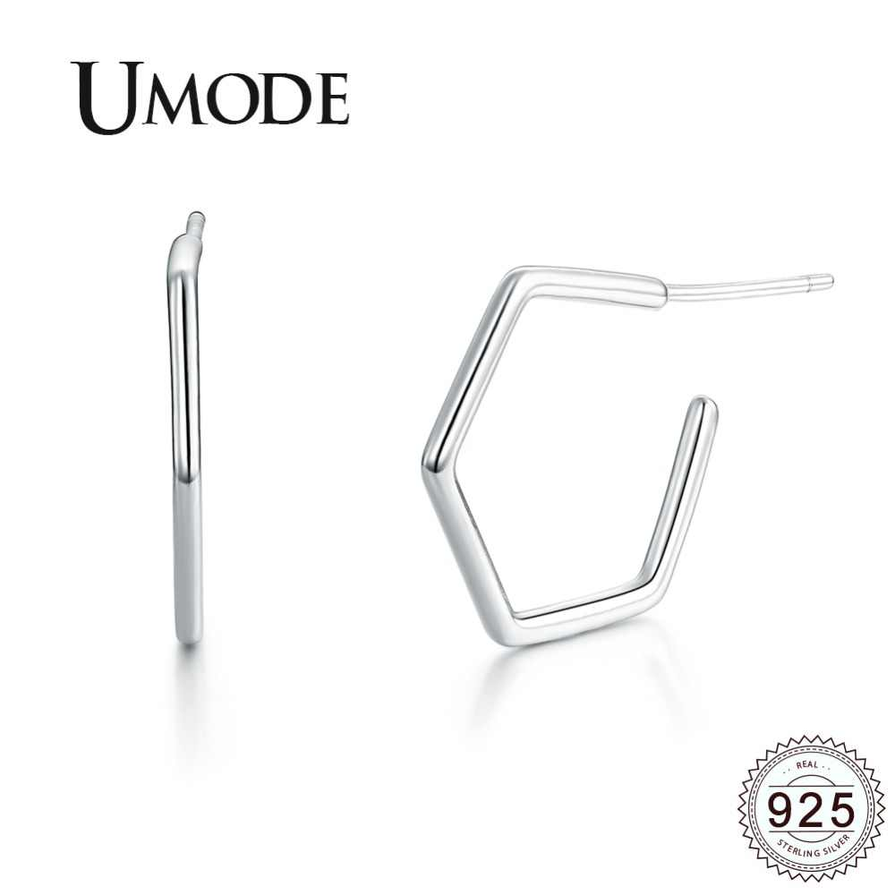 UMODE 2019 New Fashion 925 Silver Simple Geometric Drop Earrings for Women White Gold Open Pentagon Drop Twisted Jewelry ALE0252