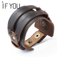 IF YOU Fashion Wide Double Layer Wrap wristband Leather Bracelet Homme Cuir For Men Fashion Casual Rock Cuff Armband Bracelets