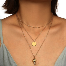 Gold Chains Round Coin Shell Pendants Layered Necklaces for Women Summer Conch Necklace Chockers Fashion Womens 2019