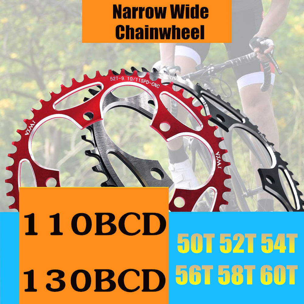 VXM Road Bicylcle Narrow Wide Chainring <font><b>110BCD</b></font> 130BCD Crank <font><b>50T</b></font> 52T 54T 56T 58T 60T 7075 Aluminum Alloy Ultralight Chainwheel image