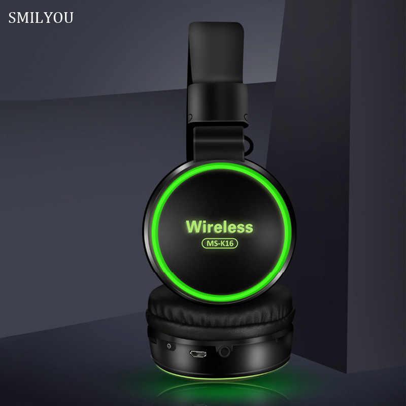 SMILYOU LED LIGHT เด็กหูฟังไร้สาย Bluetooth 5.0 หูฟังชุดหูฟังพร้อมไมโครโฟนสำหรับโทรศัพท์ของขวัญ