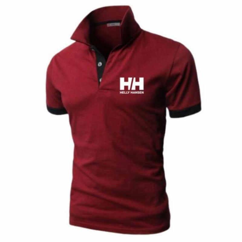 Летняя новая мужская рубашка поло с коротким рукавом Повседневная приталенная однотонная цветная рубашка поло термоусадочная быстросохнущая уличная рубашка поло для отдыха