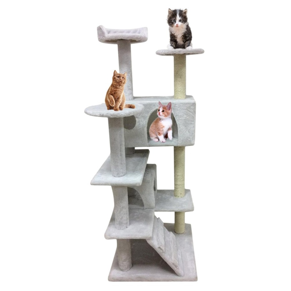 Фото Cat Jumping Toy with Ladder Scratching Wood Climbing Tree for Cat Climbing Frame Cat Furniture Scratching Post Funny Toys 130CM