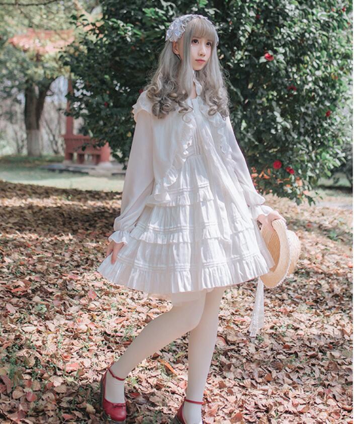 2018 Lolita Court princesse mode rose/blanc fronde sans manches à volants femme robe gothique lolita victorienne douce lolita robe - 4
