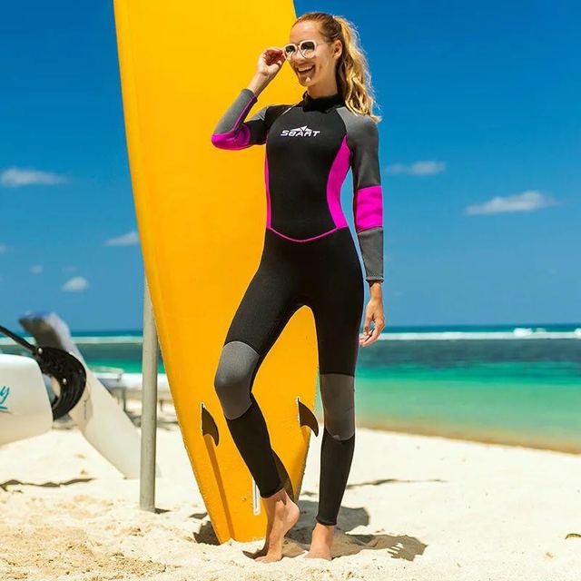 Womens Full Wetsuits Premium 3mm Neoprene Long Sleeve Long Leg Back Zip for Diving Snorkeling Swimming Scuba Wet Suit Black/Pink