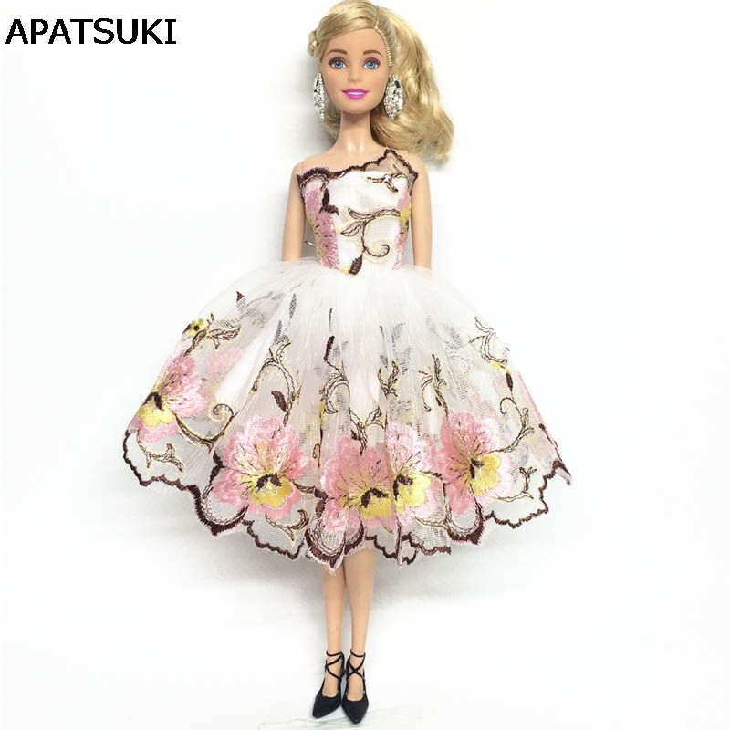 Flower Costume One-piece Dress For Barbie Doll 1/6 Fashion Party Dress Clothes For 1/6 BJD Dolls Accessories Kids Toy pure handmade chinese ancient costume doll clothes for 29cm kurhn doll or ob27 bjd 1 6 body doll girl toys dolls accessories
