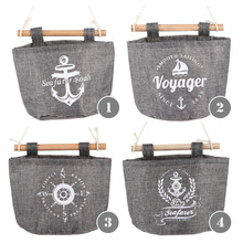 1Pcs Navy Fabric Cotton Storage Bag Rack Withy Pocket Shape Hanging Holder  Wall Used In Bedroom