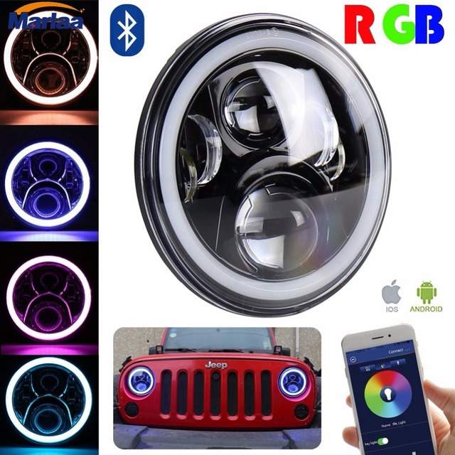 7 Inch LED Headlight Assemblies with Multicolor RGB Halo Angle Eye APP Bluetooth Remote For Jeep Wrangler TJ JK Hummer