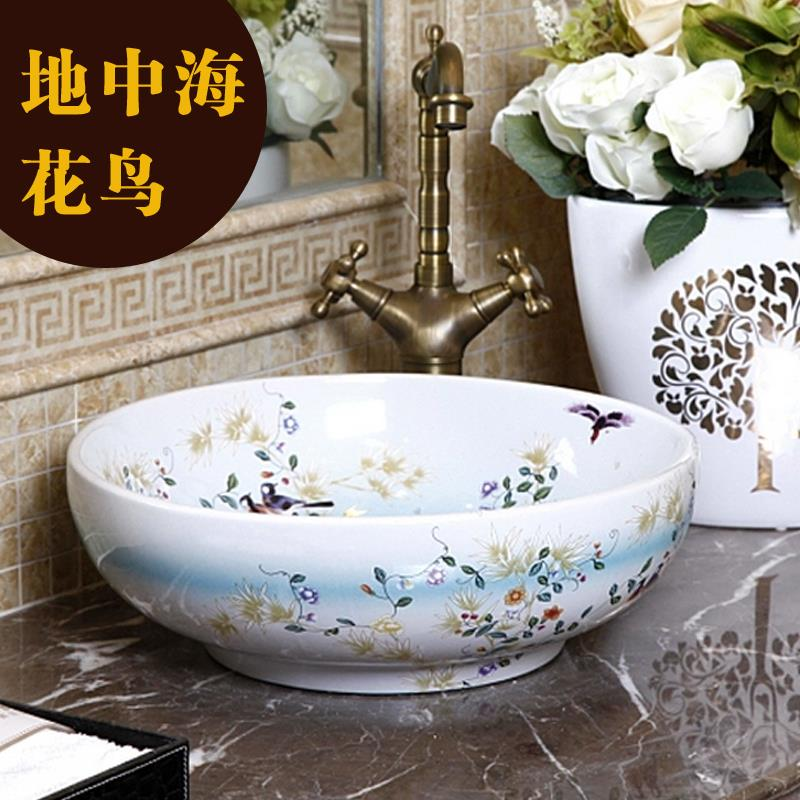 China Painting Bird And Flower Ceramic Sinks Counter Top Wash Basin Bathroom  Sink Vessel Decorative Bathroom