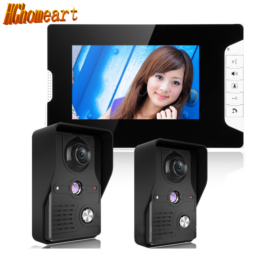 HGhomeart Household 7 inch color 2 drag a video doorbell night vision waterproof aluminum alloy digital