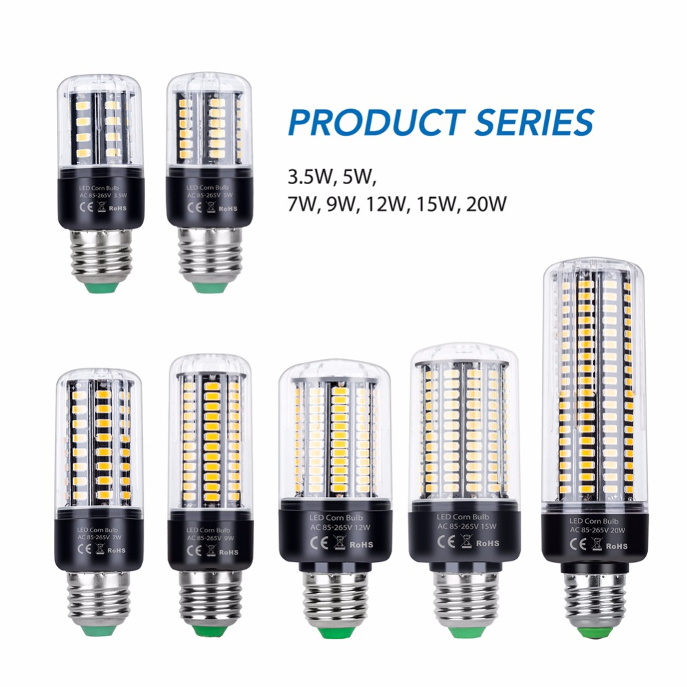 Free Shipping 220V Led Corn Bulb E27 Led Light 28 40 72 108 132 156 189leds E14 More Brighter LED Lamp 3.5W 5W 7W 9W 12W 15W 20W