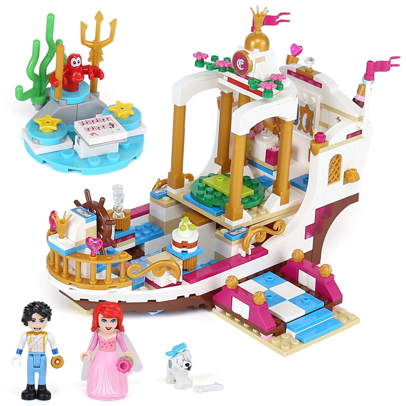Toys & Hobbies Lepin 25013 Princess Girl Series Ariels Royal Celebration Boat Compatible With Lego Blocks Friends Castle Assembly House Puzzl