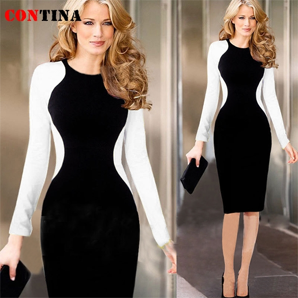 67de48e6c4a Autumn Winter Office Dress Work Wear Long Sleeve Knee Length White Black  Patchwork Plus Size Bandage Pencil Business Dress-in Dresses from Women s  Clothing ...