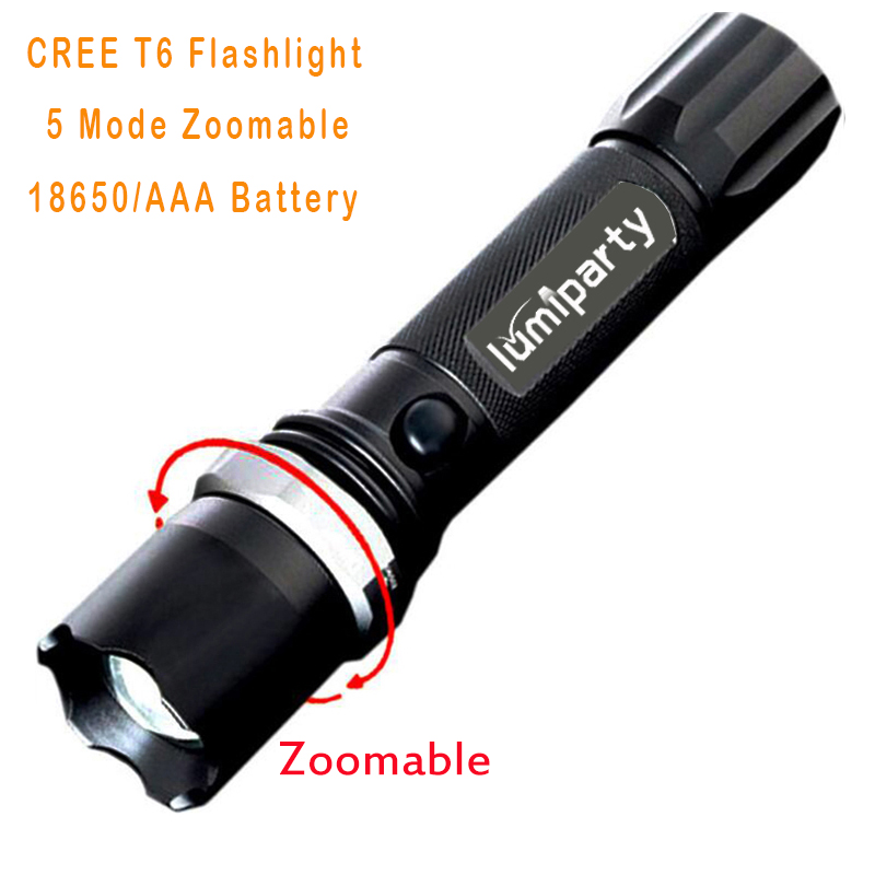 LumiParty High Power CREE XML-T6 5 Modes Flashlight 3800 Lumens LED Flashlight Waterproof Zoomable Torch 18650 or AAA battery