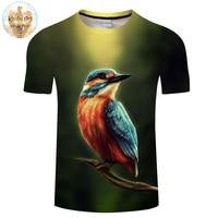 Kingfisher By KhaliaArt 3D Bird Printed T Shirts Men T Shirts Animal Tops Tees Fashion Camiseta