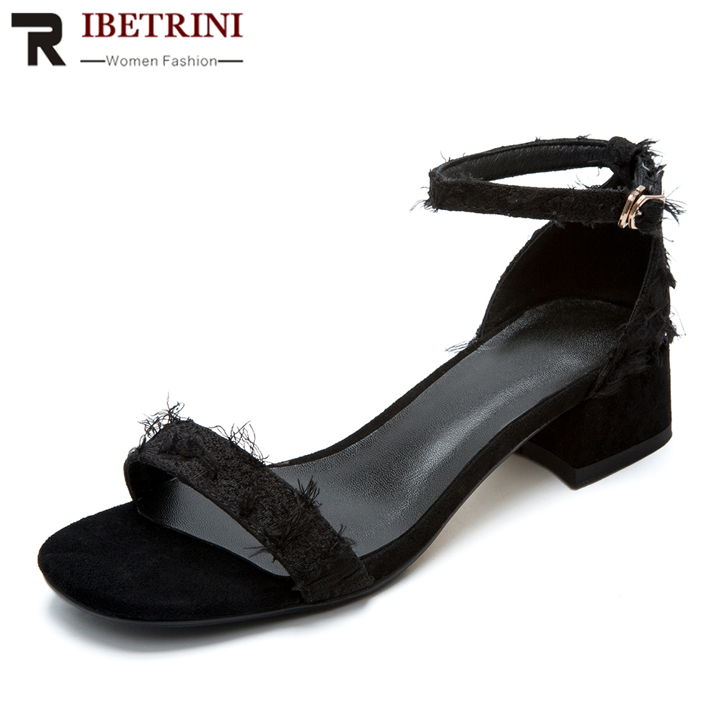 RIBETRINI High Quality Buckle Strap Chunky Heels Open Toe Sandals Woman Shoes 3 Colors Concise Summer Shoes Woman SandalsRIBETRINI High Quality Buckle Strap Chunky Heels Open Toe Sandals Woman Shoes 3 Colors Concise Summer Shoes Woman Sandals