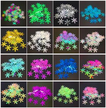 Hurtownie 100 sztuk 18mm szerokości boże narodzenie śnieżynka luźne cekiny Paillettes DIY szycie wesele Craft wybierz kolory tanie i dobre opinie 6-20mm 0 01mm Bez zniekształceń Ekologiczne Odporność na ścieranie Buty Odzieży Torby Nail art CyanRafts Kwiat Snowflake